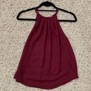 Maroon High Neck Tank